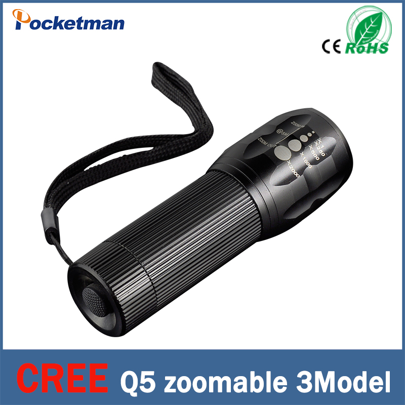 2016 NEW 2000 Lumen Zoomable CREE XML Q5 LED Flashlight Torch Zoomable Black Waterproof Lanterna LED 3 Modes zk93(China (Mainland))