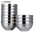 Gohide Dinnerware 3pcs Set Rice Bowls Double Layer Stainless Steel Bowls Child Anti Hot Insulated Bowl
