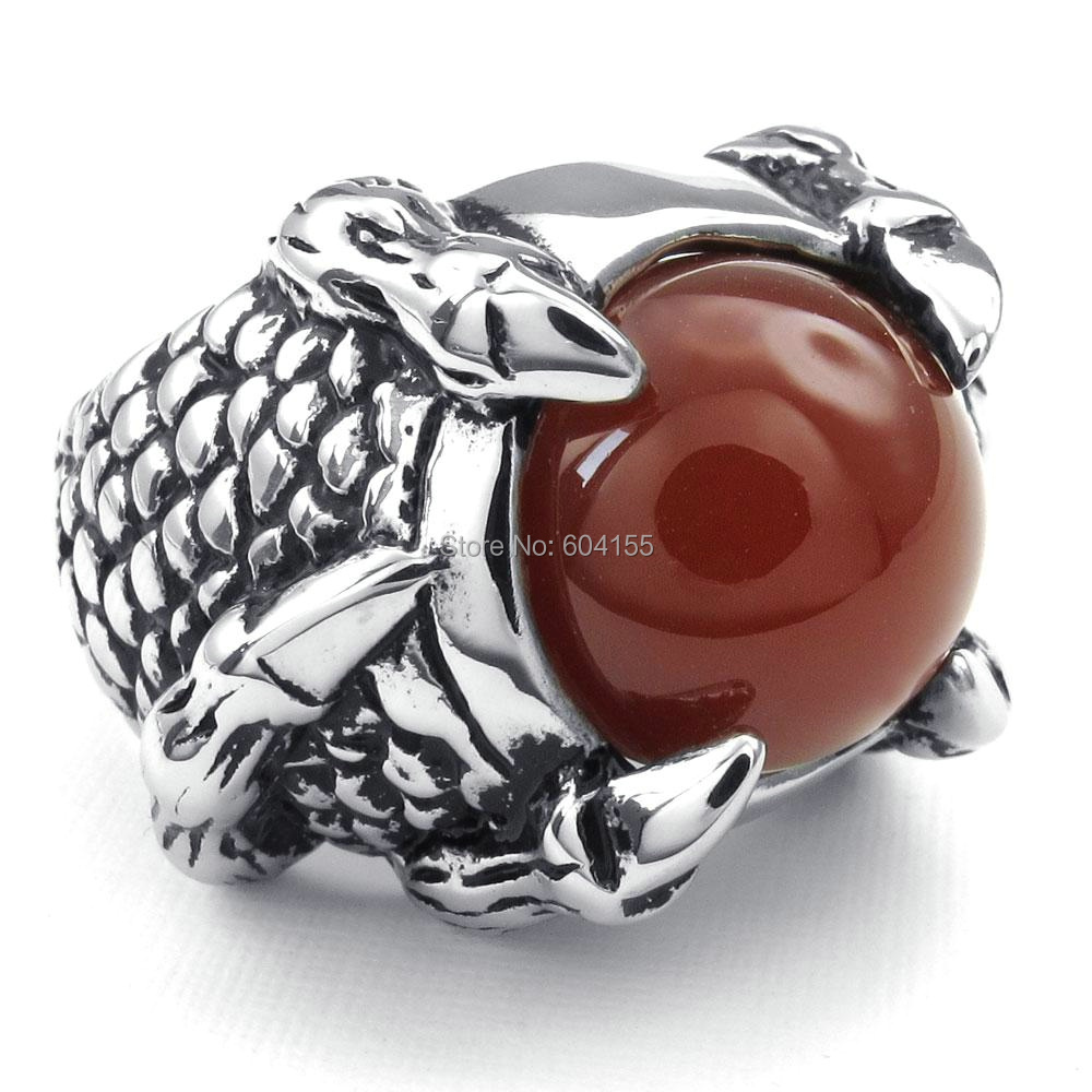 2014 NEW Hot Selling Fashion Titanium Stainless steel Classic Biker Men's Eagle Claw Red Onyx Ring US7-13 FREE SHIPPING 3479(China (Mainland))