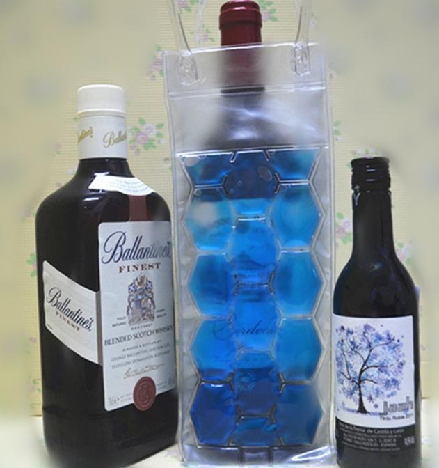2014 wine cooler bag PVC ICE BAG , Jelly Filled Bottle Can Cooler,Bottle cooler bag Fashion 039(China (Mainland))