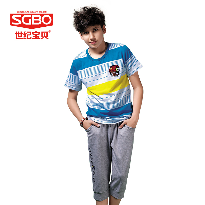 2015 NEW SGBO brand teenage 145-160 Short O Neck Casual Boys Sets 6C5077<br><br>Aliexpress