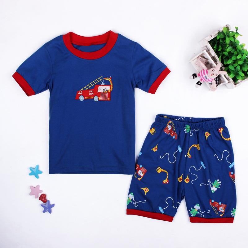 2016 New Summer Baby Boys Cartoon Home Wear Set Fire Truck T Shirt + Animal Shorts Kids Family Clothing Children Pajamas 2-7yrs(China (Mainland))