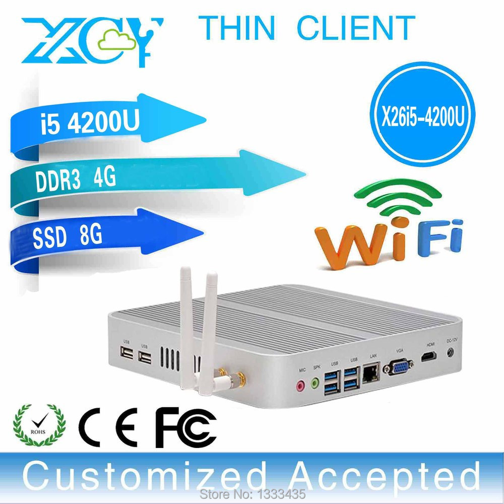 fanless mini computer factory computer thin client X26-I5 4200u 4GB RAM 8GB SSD with xcy 4200u core dual 1.6GHz.(China (Mainland))