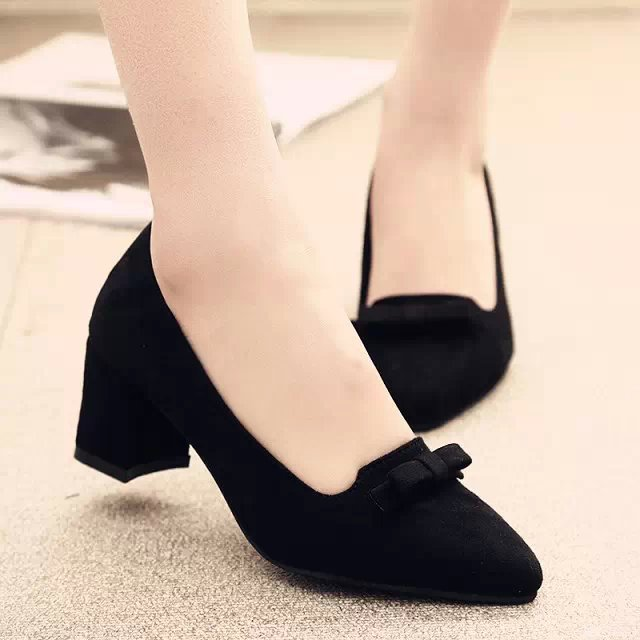 2016 spring autumn Fashion Nubuck Leather Bowtie Pointed toe square Low Heels Shoes women platform pumps #A-5