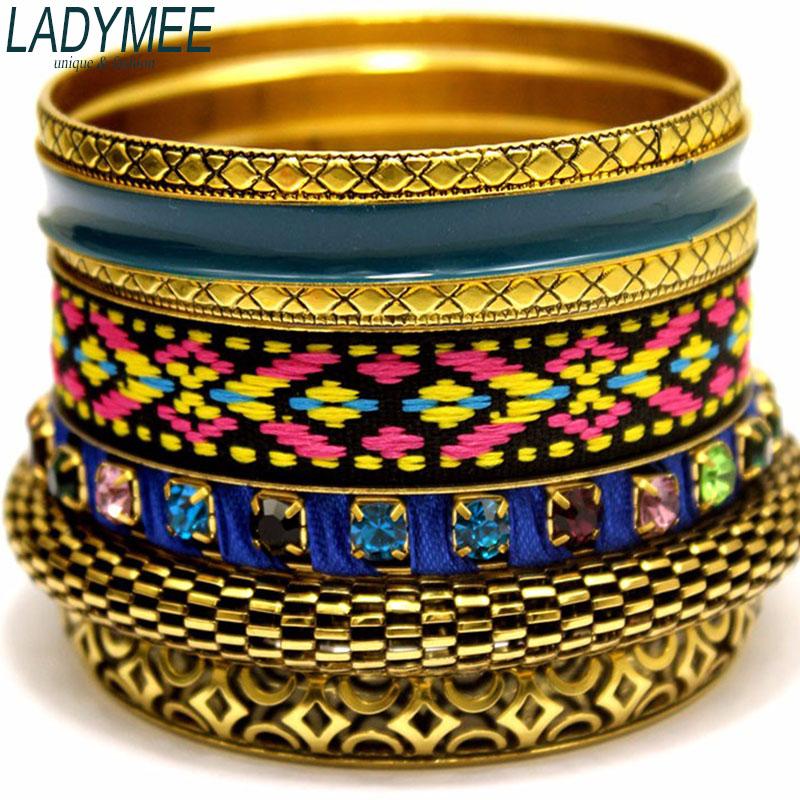 Bangles Bracelets Pulseiras A Bracelet Femme Indian Jewelry Enamel Bangles Bracelet Jonc Vintage Bohemian Bracelets for Women(China (Mainland))