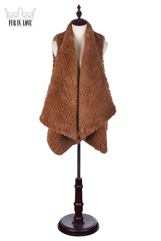 2016 Faux Rabbit Fur Knitted Vest Women Slim Fit Sleeveless Waistcoat Lady Solid Color Rabbit Pelts Vest