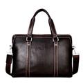 P.kuone Designer Brand Handbags Shoulder Bag Leather Briefcase Men