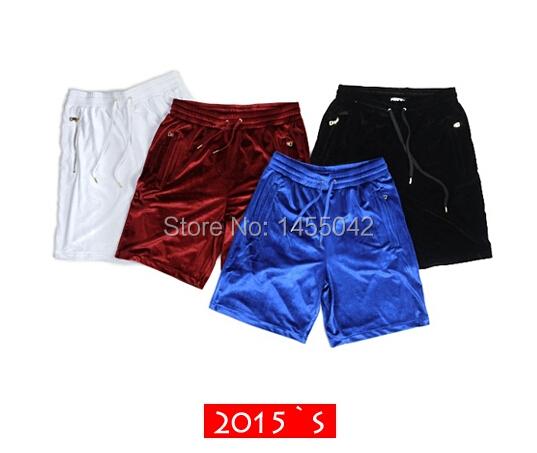 2015 street wear mannen kanye west fluweel gouden rits gewoon hip hop swag bermuda toevallige borrels masculina basketbal shorts(China (Mainland))