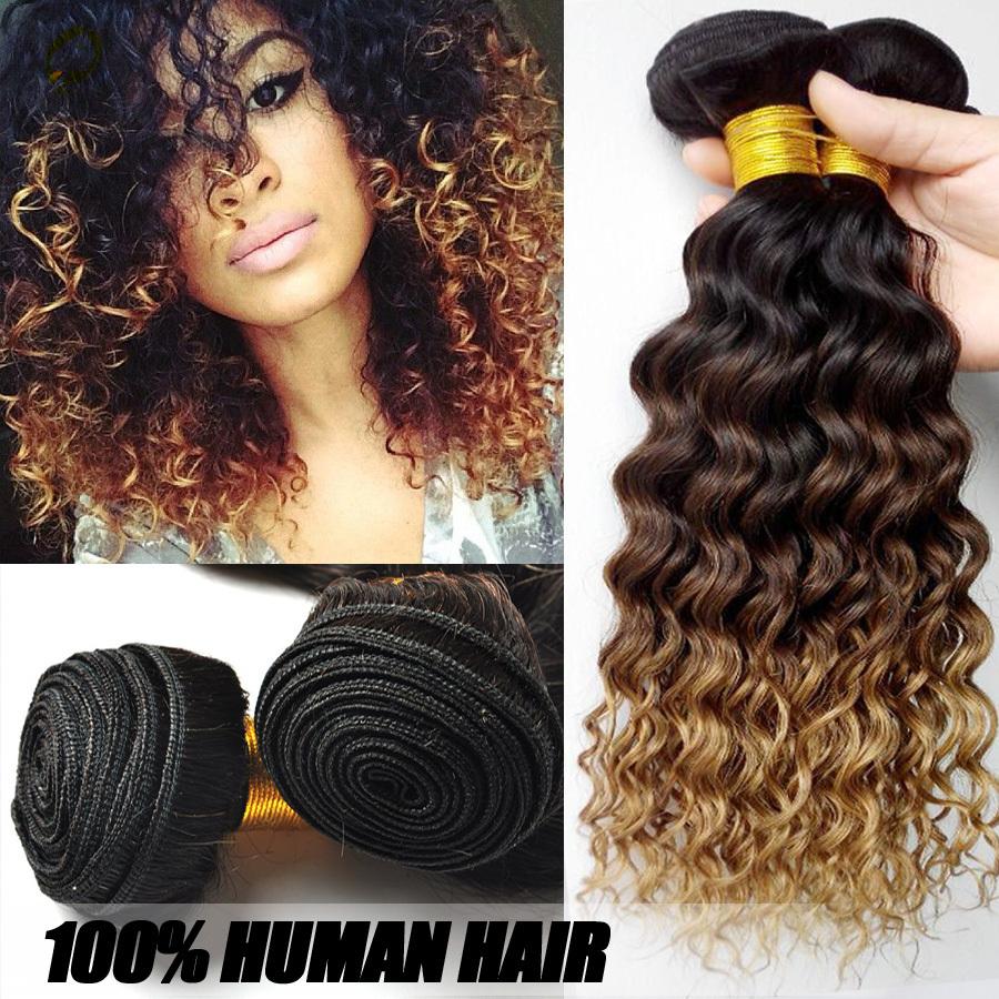 Vip Beauty Malaysian Curly Ombre Hair Extensions,Virgin Malaysian Ombre Curly Hair 3 Pcs /Lot premium now Human Hair bundles(China (Mainland))