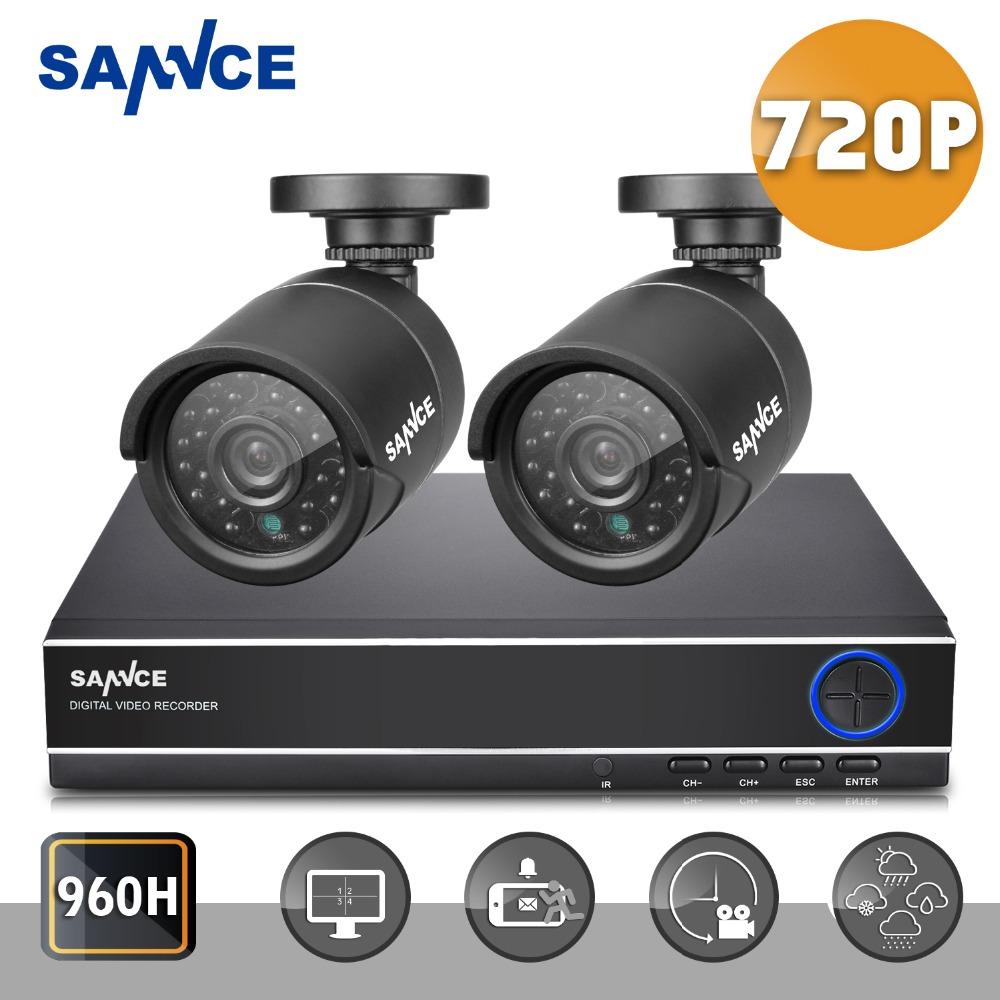 New SANNCE HD 720P 4CH CCTV System DVR 2PCS 1200TVL IR Outdoor Video DVR Security Camera System 4 Channel Surveillance Kit(China (Mainland))