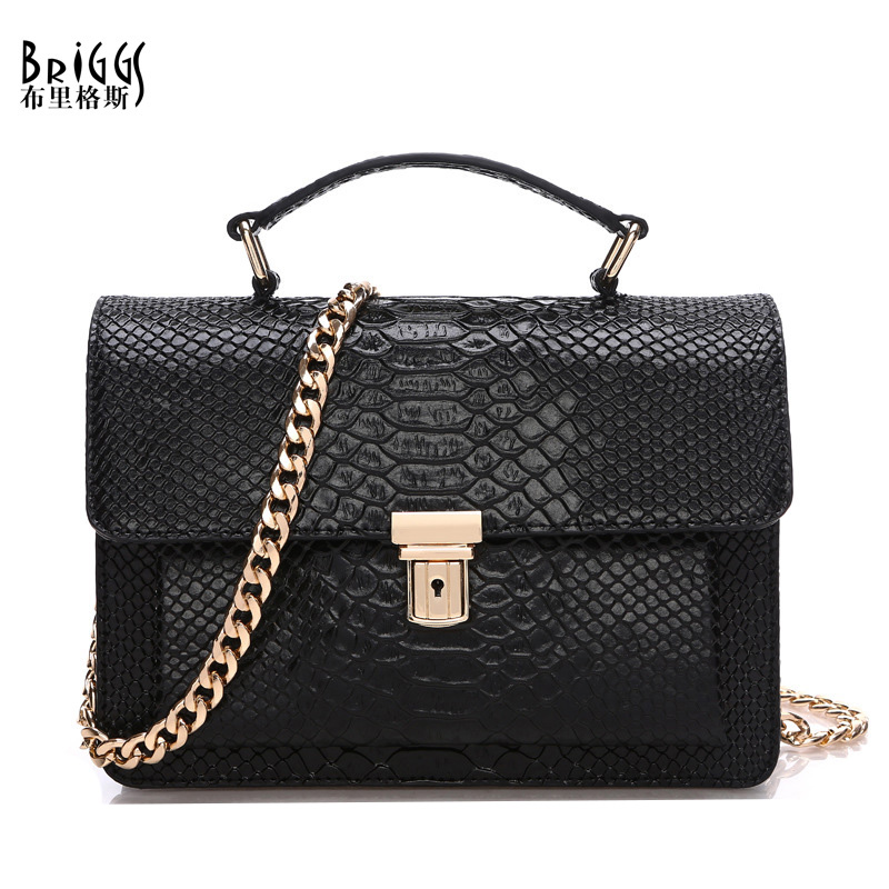 BRIGGS Luxury Vintage Serpentine Patent Genuine Leather Bags For Women Designer Handbags High Quality Ladies Tote Shoulder Bags(China (Mainland))
