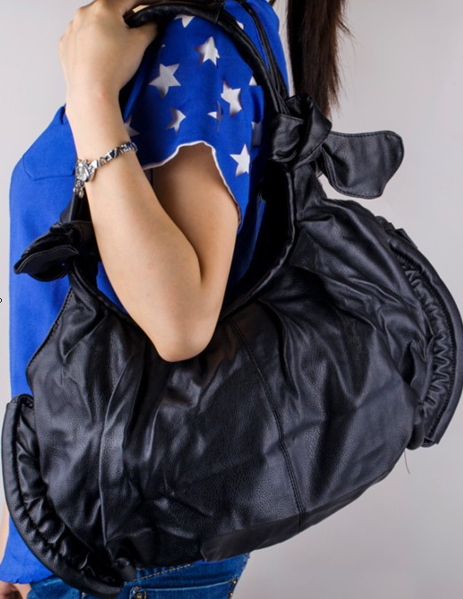 e-pak Durable Best Quality Black L084 Casual Zipper Women Messenger Bag Bow PU Leather Handbag Totes Ladies' Handbag Totes(China (Mainland))