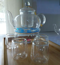 600ml glass teaset kettle tea set including 4 double wall 40ml small cups warmer heat resistant