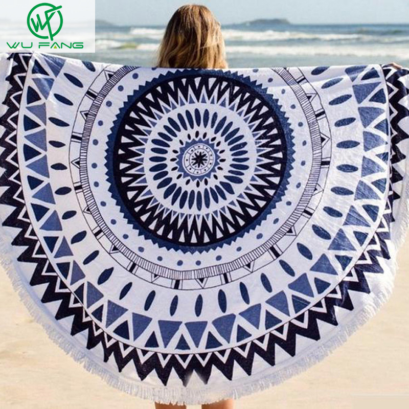2016 Summer favors Large Plush Wrap skirt Printed Round Beach Towels With Tassel Circle Beach Towel Serviette De Plage shawls(China (Mainland))