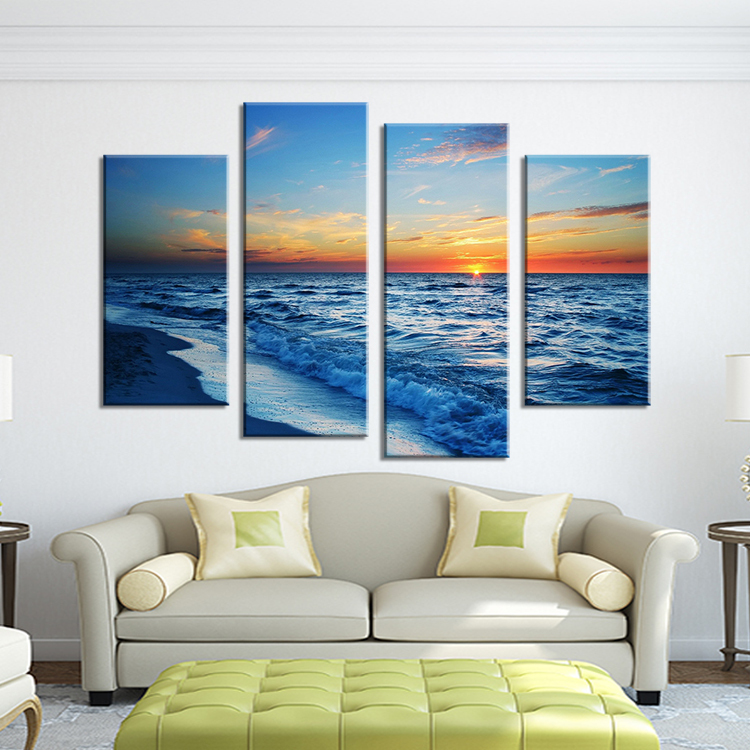 4 Panel nature sundown seascape waves Wall painting print on canvas for home decor ideas paints on Wall pictures paint by number(China (Mainland))