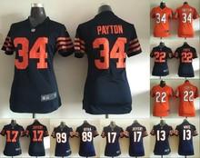 2016 Women Ladies Chicago Bears, 34 Walter Payton Kyle,17 Alshon Jeffery 22 Matt Forte #13 White , 100% stitched logo(China (Mainland))