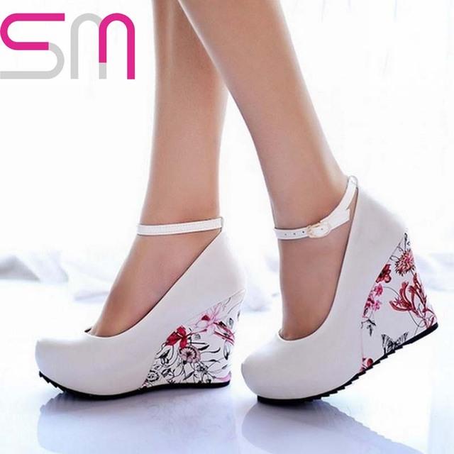 Мода стрэп 2016 клинья платформы лето туфли на высоком каблуке для женщин свободного покроя элегантный цветок печать клинья туфли на платформе мэри джейн