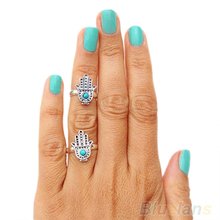 Hot New Come Retro Vintage Silver women Hand rings Of Fatima Hamsa With Evil Eye For Protection