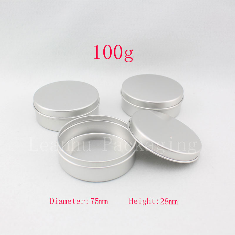 100g X 20 empty aluminum cream container ,candle metal canning jar ,100ml cosmetic skin care cream bottle , tin storage pot(China (Mainland))