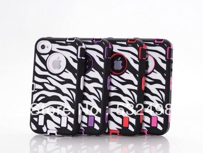 50 pcs/lot Free shipping with DHL PC+Silicone defender Zebra case mix colors high impact combo hard bubber for Iphone4 case(China (Mainland))