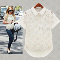 Free shipping Hot selling Peter pan collar women's summer hollow out lace chiffon short-sleeve shirt black and white  M/L/XL