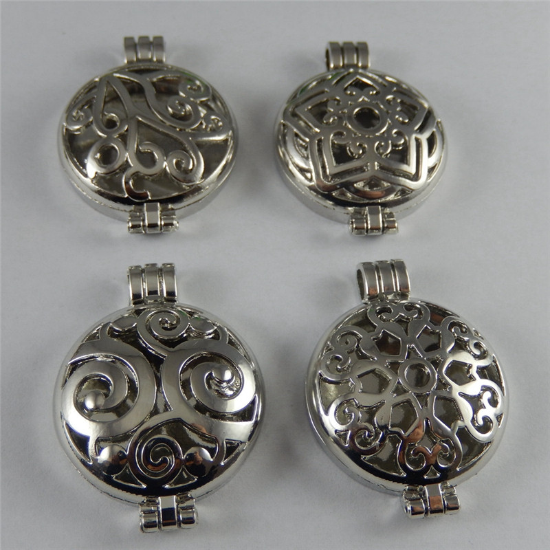 Silver Pendant 4pcs Punk Mixed Style Vintage Photo Locket Wishes Box Jewelry Charm Fragrance Essential Oil Aromatherapy Diffuser(China (Mainland))