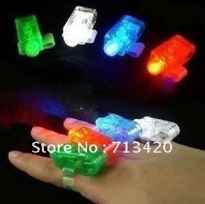 Factory Wholesale LED Finger light Laser finger light ring 4 colors Finger light toys Bulk packing 500pcs/lot Free shipping(China (Mainland))