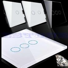 Neue Smart Touch Wand Lichtschalter Kristallglas-verkleidung 1/2/3 Gang 1 Way(China (Mainland))