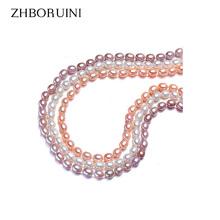 Zhboruini 2017 жемчужное ожерелье ювелирные изделия естественный пресноводный жемчуг 6-7 мм риса 925 sterling silver jewelry choker ожерелье для женщины(China (Mainland))