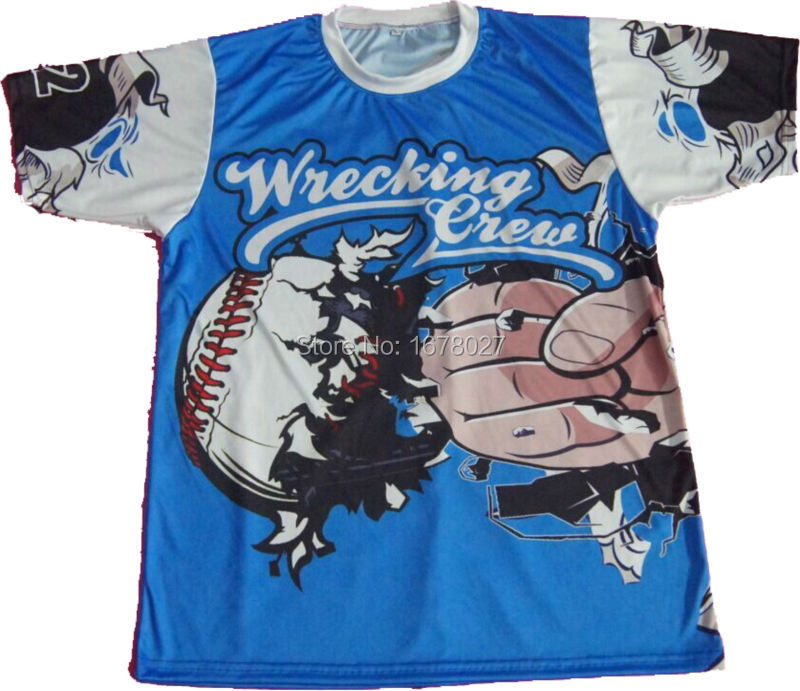 Sky Blue Light Weight Breathable Softball Team Jerseys For Softball League With Big Front Back Logos(China (Mainland))