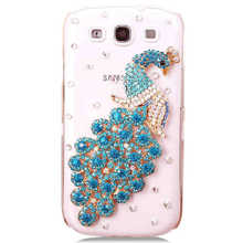 For Samsung Galaxy Win GT-I8552 I8558 case PC hard Rhinestone Peacock cover, free shipping(China (Mainland))