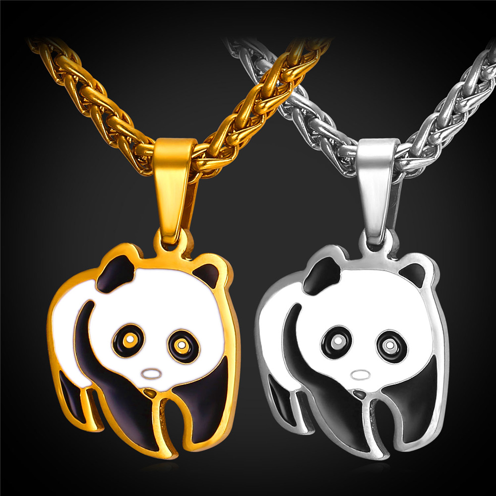 Cute Panda Pendant Necklace For Women Maxi Collier Animal Stainless Steel 18K Real Gold Filled Wholesale Jewelry P2241Y(China (Mainland))
