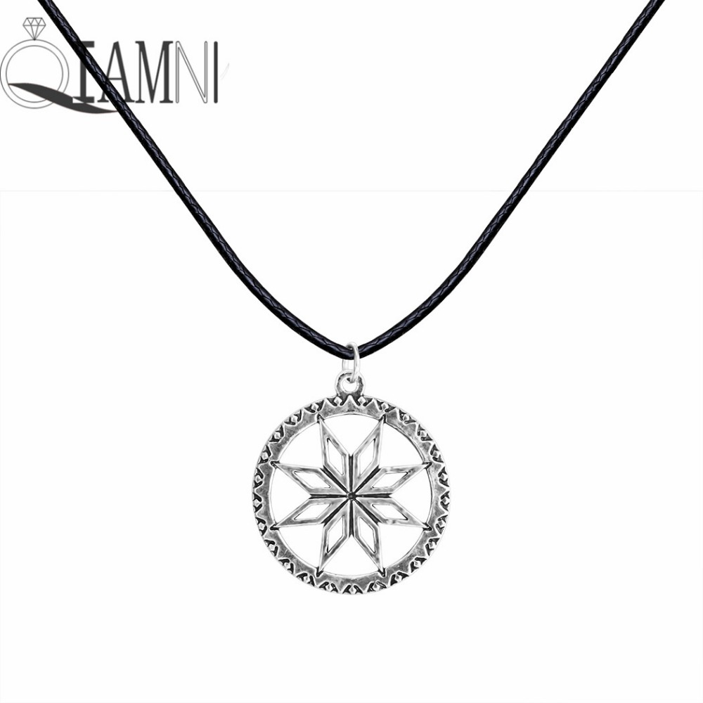 Antique Silver Punk Flower Runes Family Success Sun Rope Chain Slavic Pendant Necklace Christmas Jewelry Gift for Men Women