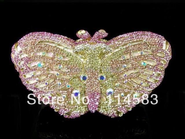 BUTTERFLY color-A Crystal Metal Evening Lady fashion Wedding Bridal purse clutch bag case handbag IN FREE SHIPMENT<br><br>Aliexpress