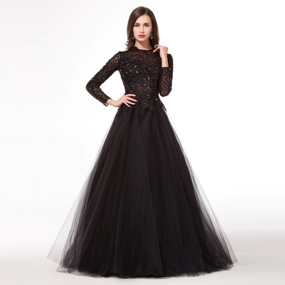 Online Buy Wholesale full length black long sleeve evening dress ...