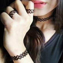 Punk Elastic Vintage Stretch Tattoo Choker Necklace Gothic Punk Elastic Necklaces Set(China (Mainland))