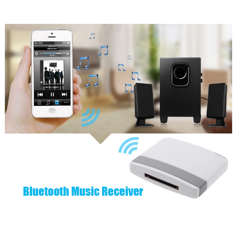 Mini Portable 30Pin Connector Stereo Receiver Bluetooth V2.0 A2DP Music Receiver Audio Adapter for iPad iPod iPhone Dock Speaker(China (Mainland))