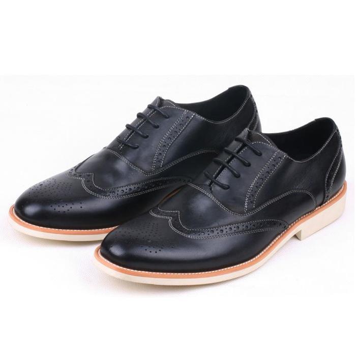 Фотография 2016 New Black+White Fashion 100% Genuine Leather Formal Brand Man Brogue Oxford  Men