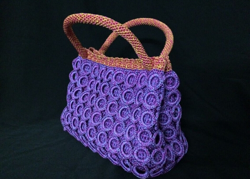 Hand Crochet Bags For Women Cotton Weave Shoulder Bag Fashion Knitting ...