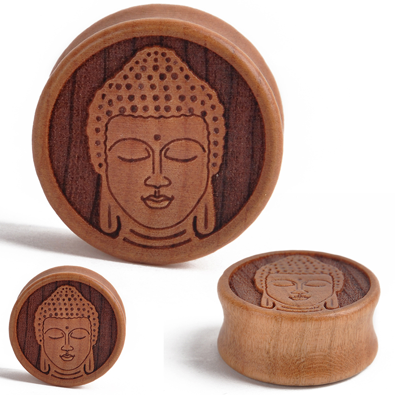 Fashion 1 Pair Wood Meditating Buddha Ear Plugs Double Flared Saddle Tunnel Gauges Piercing for Women Men Body Jewelry 10-28mm