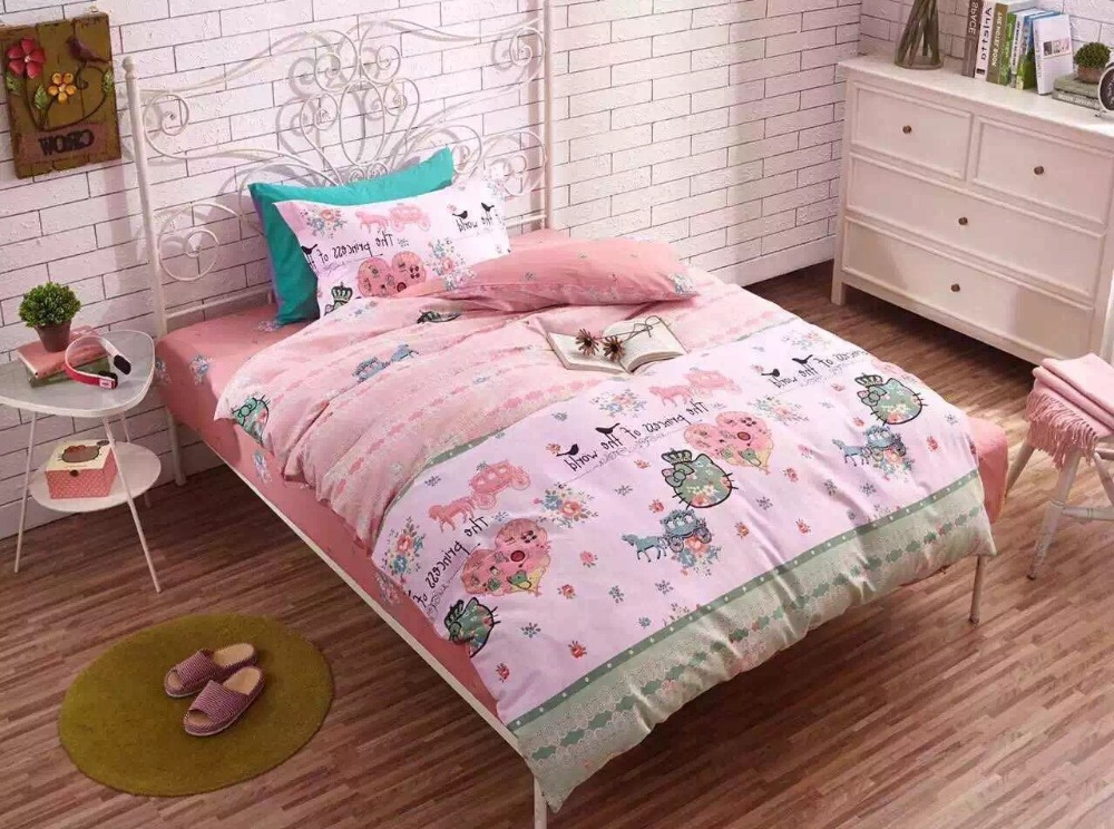 2016 new fashion 100% cotton Juvenile boy and girl bedding set duvet cover set lovely cartoon pattern kids bedding twin size(China (Mainland))