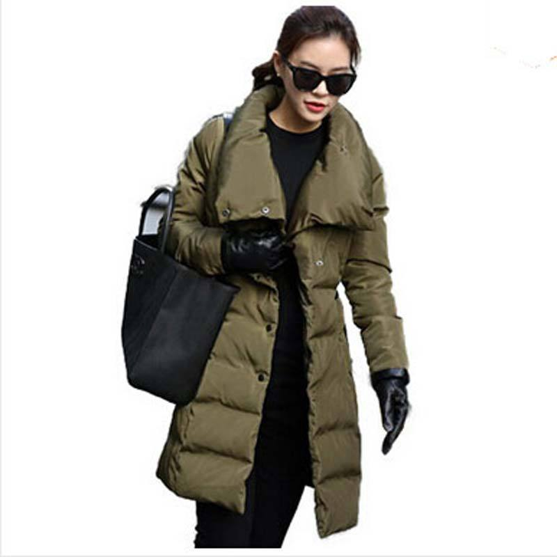 Europe Brand 2015 winter new High collar Thicken long down jacket women fashion slim single-breasted duck down jacket Coat AE438