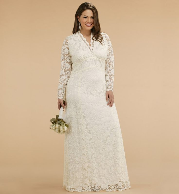 Plus Size Long Sleeve Wedding Gowns: 2015 Custom Made Top Income Lace Plus Size For Pregnant