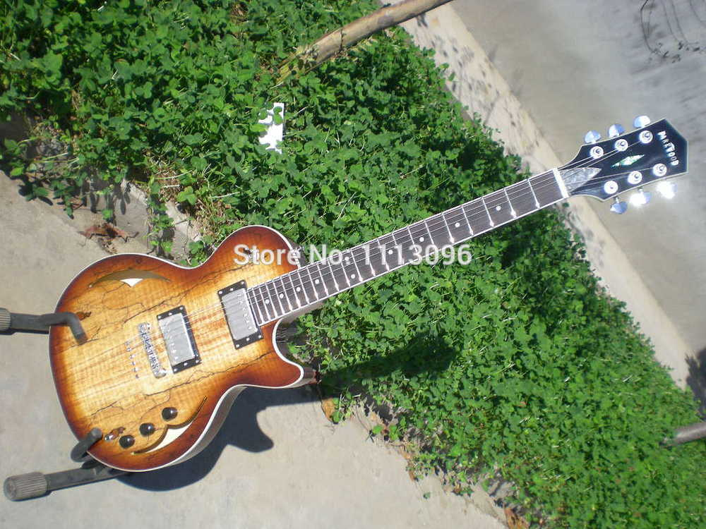 FREE SHIPPING G LP hollow jazz ELECTRIC GUITAR with maple flame top guitar in china