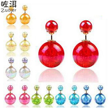 Roxi Fine Jewelry High Quality Double Sided Stud Earrings Elegant 9 Different Candy Colors Beads Ball Earrings Promotion On Sale
