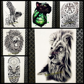 Real Indian Tribal Lion Face Temporary Tattoo Sticker Fake Flash Black Waterproof Tattoo Body Art, Women Men Totem Spray Tatoos