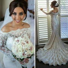 New Arrival Mermaid Wedding Dress 2016 Sexy Strapless Beaded Lace Long Sleeve Vestido De Noiva High Quality Wedding Gowns(China (Mainland))