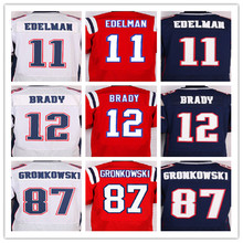 Best quality men's jersey,Elite 12 Tom Brady 87 Rob Gronkowski 11 Julian Edelman jersey,White Red and Blue,size M-XXXL(China (Mainland))