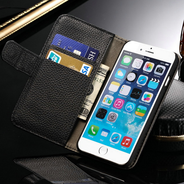 Litchi Skin Wallet PU Leather Case iPhone 6 Plus 5.5 Inch Flip Stand Phone Bag Cover Card Holder Bill Stie 7 Color - Shenzhen OYO Union Trading Co., Ltd store