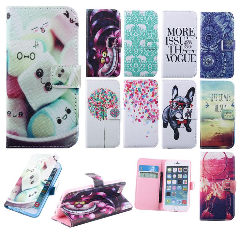 PU Leather Holder Wallet for iPhone 6 4.7 inch Cute Cartoon Dog Cat Flower Elephants Stand Style Cover Case For iPhone 6G()